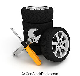 Wheel and Tools. - Wheel and Tools. Car service. Isolated 3D...