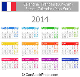 2014 French Type-1 Calendar Mon-Sun on white background