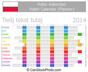 2014 Polish Planner Calendar with Horizontal Months on white...