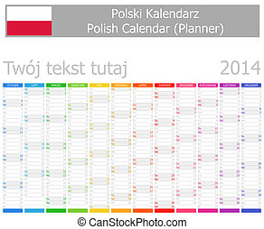 2014 Polish Planner Calendar with Vertical Months on white...