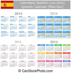 2014 Spanish Mix Calendar Mon-Sun on white background