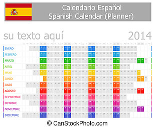2014 Spanish Planner Calendar with Horizontal Months on...