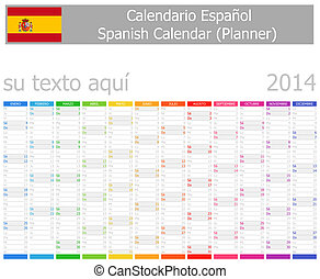 2014 Spanish Planner Calendar with Vertical Months on white...