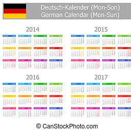 2014-2017 Type-1 German Calendar Mon-Sun on white background