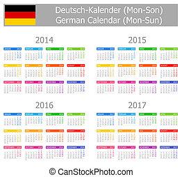 2014-2017 Type-1 German Calendar Mon-Sun on white background