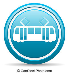 tram blue glossy icon on white background - blue circle...