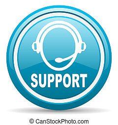 support blue glossy icon on white background