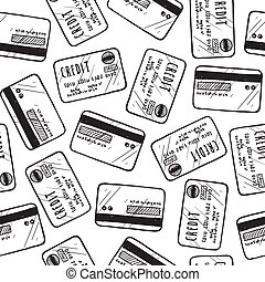 Seamless credit card background - Doodle style credit card...