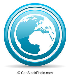 earth blue glossy icon on white background