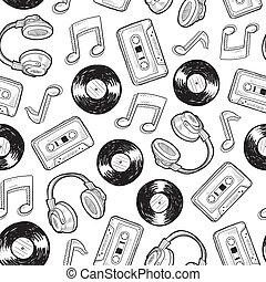 Seamless music media background - Doodle style music media...
