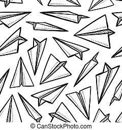 Seamless paper airplane pattern - Doodle style seamless...