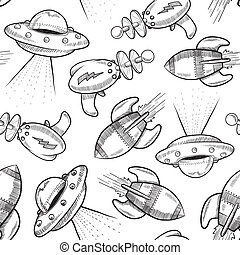 Seamless science fiction background - Doodle style science...