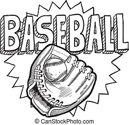 Baseball sketch - Doodle style baseball sports illustration...