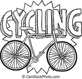 Cycling sports sketch - Doodle style cycling sports...