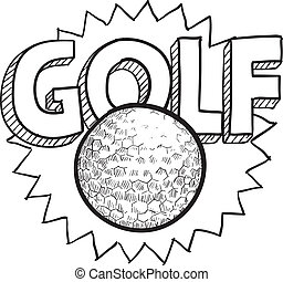 Golf sketch - Doodle style golf illustration in vector...