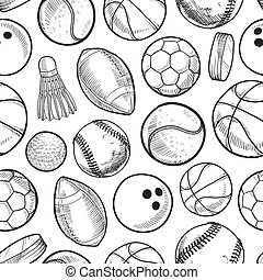 Seamless sports background - Doodle style sports equipment...
