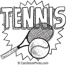Tennis sketch - Doodle style tennis illustration in vector...