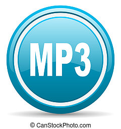 mp3 blue glossy icon on white background - blue circle...
