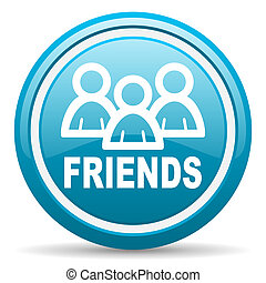 friends blue glossy icon on white background