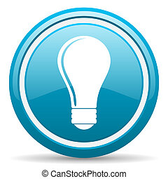 light bulb blue glossy icon on white background - blue...