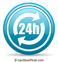 24h blue glossy icon on white background - blue circle...