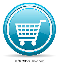 shopping cart blue glossy icon on white background - blue...