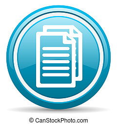 document blue glossy icon on white background - blue circle...