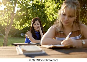 学校, 勉強, 若い, 教科書, 大学, 試験, 女性
