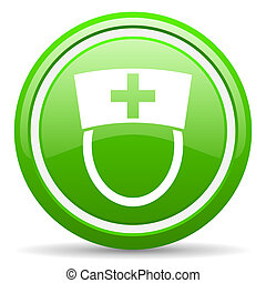 nurse green glossy icon on white background - green glossy...