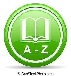 dictionary green glossy icon on white background - green...