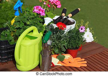 piantatura, fiori, giardino, attrezzi, vario, fiori, erbe