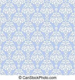 Blue and White Damask - Seamless damask pattern in white on...