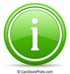 information green glossy icon on white background - green...