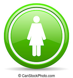 woman green glossy icon on white background - green glossy...