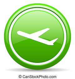 airplane green glossy icon on white background - green...