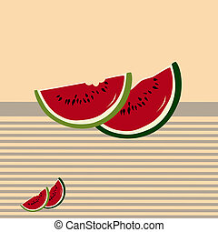 Watermelon slices on scratches background. Seamless pattern...