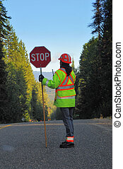 stop - worker stopping traffic