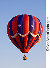 Red, White, and Blue Hot Air Balloon - A colorful red,...