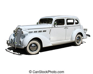 retro vintage white dream wedding car isolated