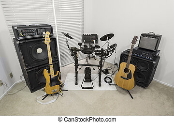 Suburban Rocker Music Room - Rock band practice set up...