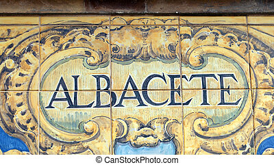 Albacete - Laying ceramic letters the name from the Spanish...