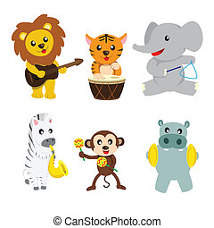 Animals playing music - A vector illustration of wild...