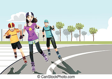 Rollerblading teenagers - A vector illustration of a group...