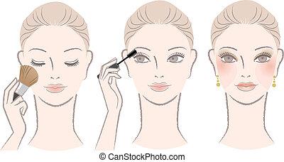 woman on makeup procedure - Beautiful woman on makeup...