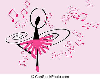 dancing ballerina - illustration of ballerina dancing to...