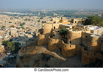 View of golden city Jaisalmer,India - View of golden city...
