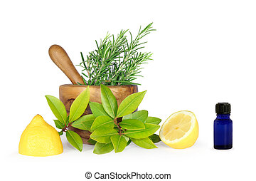 Herbs and Lemons - Herb leaf selection of rosemary, bay...