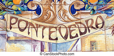 Pontevedra - Laying ceramic letters the name from the...