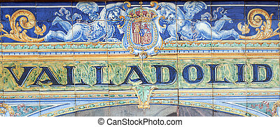 Valladolid - Laying ceramic letters the name from the...