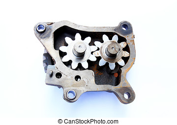 Internal gear pump parts. - Old engine parts.